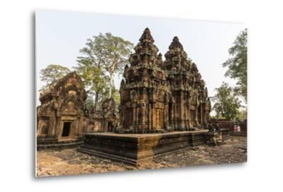 Ornate Carvings in Red Sandstone at Banteay Srei Temple in Angkor, Siem Reap, Cambodia-Michael Nolan-Metal Print
