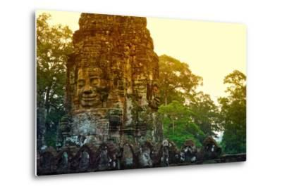 Stone Faces Carved in the Ancient Ruins of Bayon Temple-Kike Calvo-Metal Print