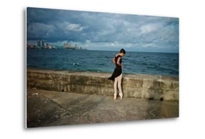 A Ballerina from the National Ballet of Cuba Dances En Pointe on Havana's Malecon-Kike Calvo-Metal Print