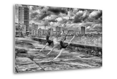 Ballerinas from the National Ballet of Cuba Dance on Havana's Malecon-Kike Calvo-Metal Print
