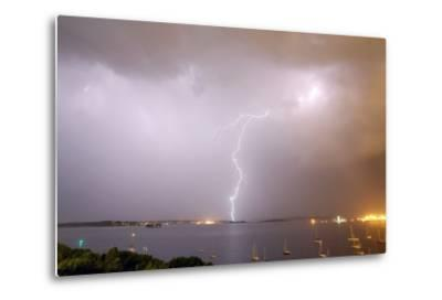 Lightning Strikes over Casco Bay-Robbie George-Metal Print