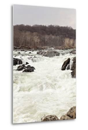 The Fast Moving Waters of the Potomac River Cascade over Boulders-Hannele Lahti-Metal Print