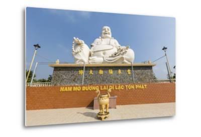 Giant Buddha Statue at Vinh Trang Pagoda, My Tho, Vietnam, Indochina, Southeast Asia, Asia-Michael Nolan-Metal Print