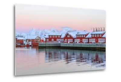 Pink Sunset over the Typical Red Houses Reflected in the Sea-Roberto Moiola-Metal Print