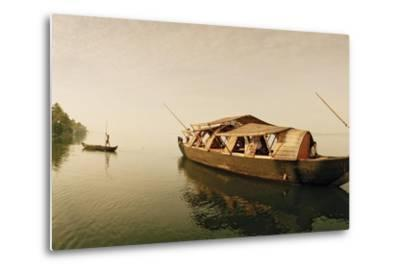 A Rice Boat Converted to a Houseboat Floats on Backwaters of Kerala-Macduff Everton-Metal Print