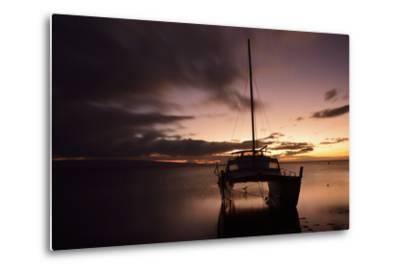 Pink Sunset over the Pacific Ocean with a Catamaran Anchored in the Foreground on Molokai, Hawaii-Jonathan Kingston-Metal Print