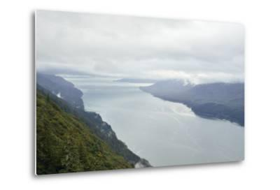 A View from Mount Roberts of Low Clouds Hover over Gastineau Channel-Jonathan Kingston-Metal Print