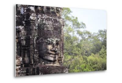 Buddha Face Carved in Stone at the Bayon Temple, Angkor Thom, Angkor, Cambodia-Yadid Levy-Metal Print