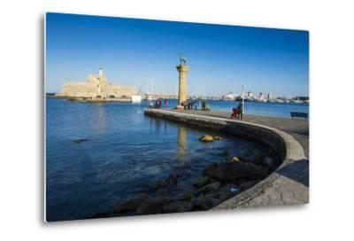 The Old Agios Nikolaos Fortress, Mandraki Harbour, Rhodes Town, Dodecanese Islands, Greek Islands-Michael Runkel-Metal Print