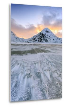 Wave Advances Towards the Shore of the Beach Surrounded by Snowy Peaks at Dawn-Roberto Moiola-Metal Print