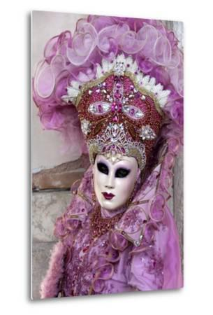 Lady in a Pink Dress and Bejewelled Hat, Venice Carnival, Venice, Veneto, Italy, Europe-James Emmerson-Metal Print