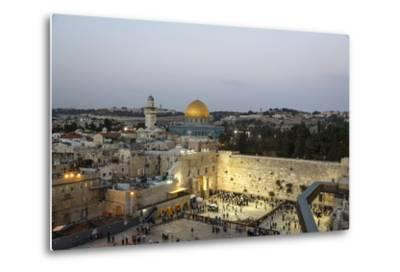 View over the Western Wall (Wailing Wall) and the Dome of the Rock Mosque, Jerusalem, Israel-Yadid Levy-Metal Print