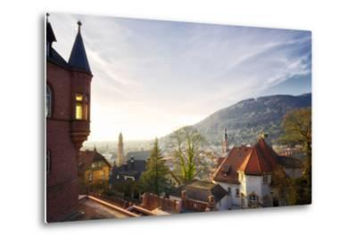 A View over the Misty Old Town of Heidelberg, Baden-Wurttemberg, Germany-Andreas Brandl-Metal Print