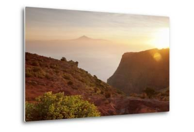 View from Gomera to Tenerife with Teide Volcano at Sunrise, Canary Islands, Spain, Atlantic, Europe-Markus Lange-Metal Print