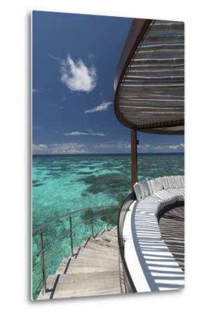 Stairs to the Beach and Sofa Overlooking the Ocean, Maldives, Indian Ocean-Sakis Papadopoulos-Metal Print