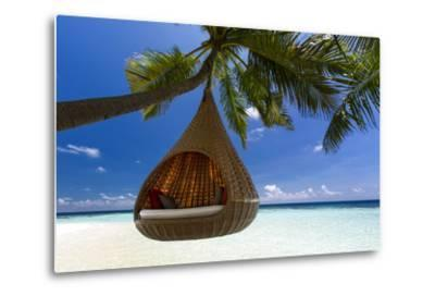 Sofa Hanging on a Tree on the Beach, Maldives, Indian Ocean-Sakis Papadopoulos-Metal Print