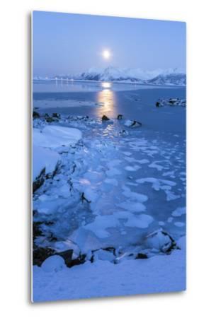 Reflections of Full Moon in the Frozen Sea, Lyngedal, Lofoten Islands, Arctic, Norway, Scandinavia-Roberto Moiola-Metal Print
