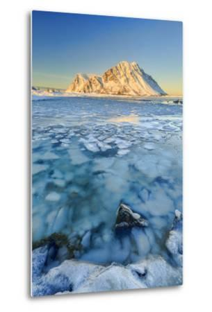 Views of the Mountains of Gymsoya (Gimsoya) from Smorten Reflected in the Clear Sea-Roberto Moiola-Metal Print
