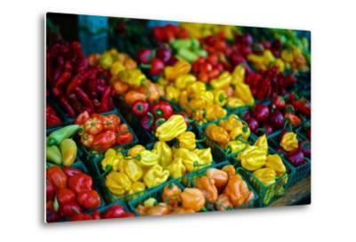 Colorful Peppers for Sale at a Farmers' Market-Kike Calvo-Metal Print