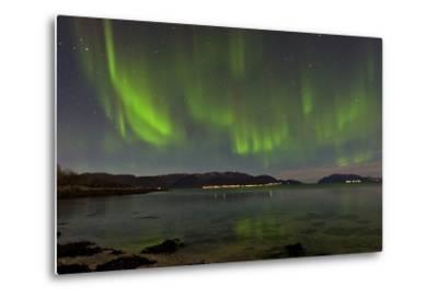 The Aurora Borealis Appears Above a Fjord-Babak Tafreshi-Metal Print