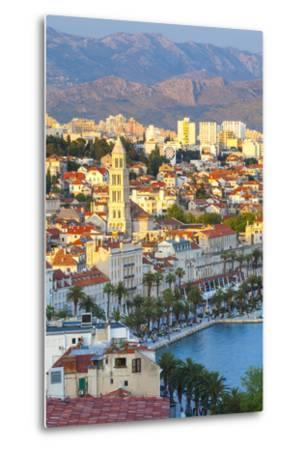 Elevated View over Split's Picturesque Stari Grad and Harbour Illuminated at Sunset-Doug Pearson-Metal Print