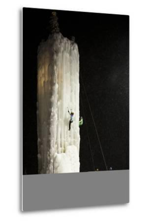 Two People Ice Climb a Tower at the Big White Ski Resort-Michael Hanson-Metal Print