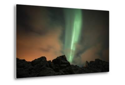 An Aurora Borealis and the Big Dipper Constellation Above a Mountain Peak-Sergio Pitamitz-Metal Print