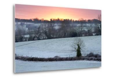Winter Trees and Fields in Dawn Frost, Stow-On-The-Wold, Gloucestershire, Cotswolds, England, UK-Stuart Black-Metal Print