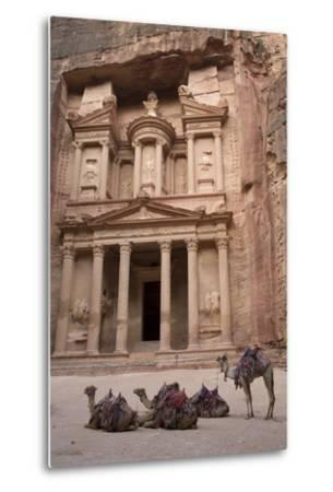 Camels in Front of the Treasury, Petra, Jordan, Middle East-Richard Maschmeyer-Metal Print