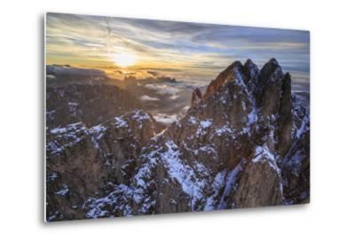 Aerial Shot of Sassolungo at Sunset-Roberto Moiola-Metal Print