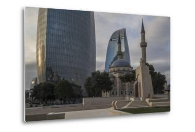 Exterior View of the Flame Towers and Shakhindlar Mosque-Will Van Overbeek-Metal Print