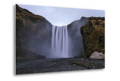 Skogafoss Waterfall, 60 Meters High, on the Skoga River on Cliffs of the Former Coastline-Babak Tafreshi-Metal Print