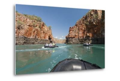 Tourists on Zodiacs Explore the Extreme Tidal Fluctuations at Horizontal Waterfalls in Talbot Bay-Jeff Mauritzen-Metal Print