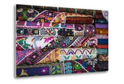 Colourful Hand Woven Fabrics at Mapusa Market, Goa, India, Asia-Yadid Levy-Metal Print