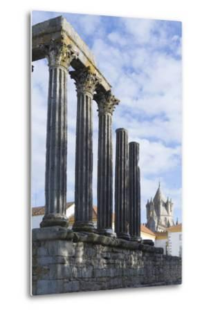 The Roman Temple of Diana and the Tower of Evora Cathedral-Alex Robinson-Metal Print