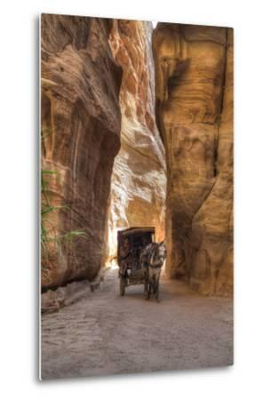 Horsecart in the Siq, Petra, Jordan, Middle East-Richard Maschmeyer-Metal Print