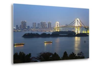 Rainbow Bridge from Odaiba, Tokyo, Japan, Asia-Stuart Black-Metal Print