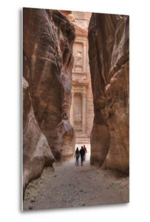 Tourists Approaching the Treasury from the Siq, Petra, Jordan, Middle East-Richard Maschmeyer-Metal Print