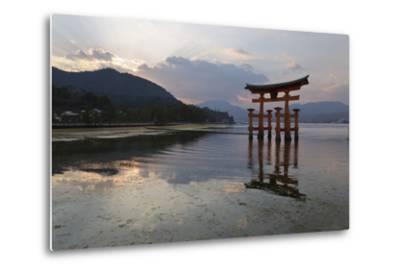 The Floating Miyajima Torii Gate of Itsukushima Shrine at Sunset-Stuart Black-Metal Print