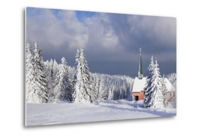 Winter Landscape with Church, Kandel Mountain, Black Forest, Baden-Wurttemberg, Germany, Europe-Markus Lange-Metal Print