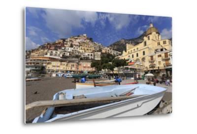 Small Boats on Beach, Positano, Costiera Amalfitana (Amalfi Coast), Campania, Italy-Eleanor Scriven-Metal Print