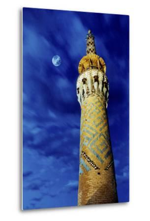 The Moon in the Evening Sky Above the Historic Minaret of Tekeye Mirchaqmaq, in Yazd, Iran-Babak Tafreshi-Metal Print