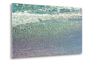 Atlantic Ocean Surf Surging onto a Beach. Sunlight Creates a Rainbow of Colors in the Wet Sand-Donna O'Meara-Metal Print