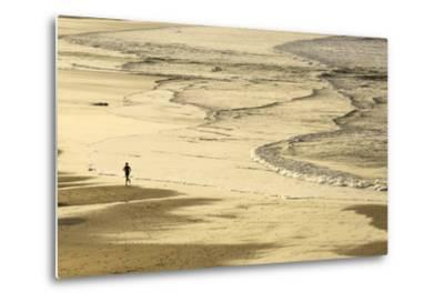 Woman Jogging at Sunrise on Gwithian Beach, Cornwall, England, United Kingdom-Mark Chivers-Metal Print