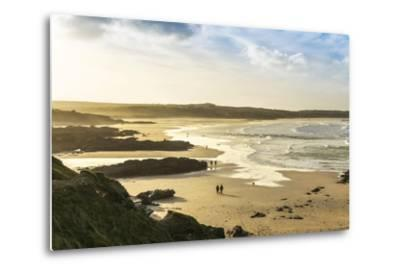 Sunrise at Gwithian Beach, Cornwall, England, United Kingdom-Mark Chivers-Metal Print