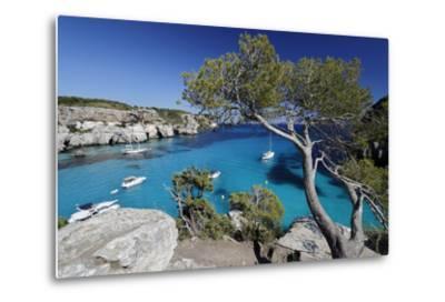 Yachts Anchored in Cove, Cala Macarella, Near Cala Galdana-Stuart Black-Metal Print