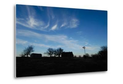 Silhouette of Barns and a Windmill Against Blue Sky-Michael Forsberg-Metal Print