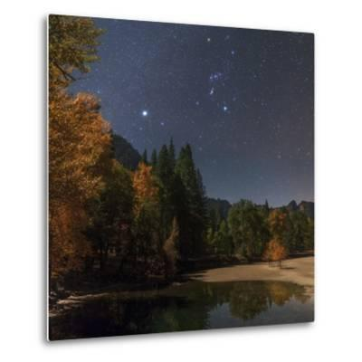 Bright Star Sirius and Constellation Orion over the Merced River in Moonlight-Babak Tafreshi-Metal Print