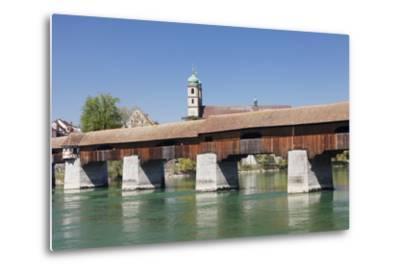 Historical Wooden Bridge and Cathedral (Fridolinsmuenster)-Markus Lange-Metal Print