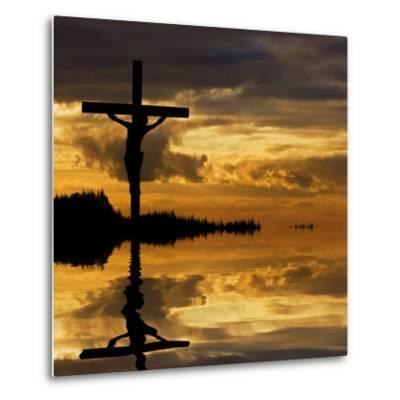 Jesus Christ Crucifixion on Good Friday Silhouette Reflected in Lake Water-Veneratio-Metal Print